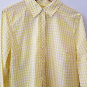 Talbots Lightweight Yellow Check Top Size Large